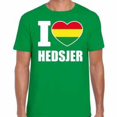 Carnaval i love hedsjer t shirt groen heren2020