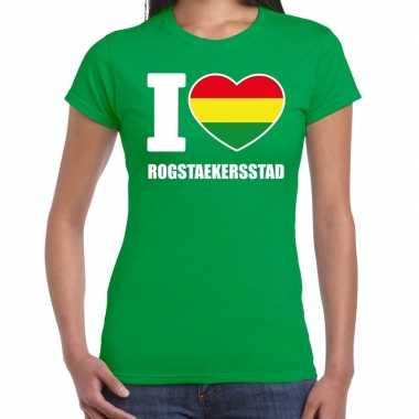 Carnaval i love rogstaekersstad t shirt groen dames2020
