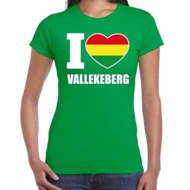 Carnaval i love vallekeberg t shirt groen dames2020