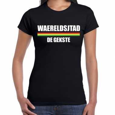 Carnaval waereldsjtad gekste t shirt zwart dames2020