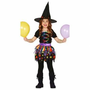 Gekleurd heksen carnavalskleding meisjes2020