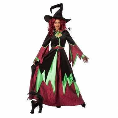 Halloween Heksen carnavalskleding groen/rood vrouwen2020