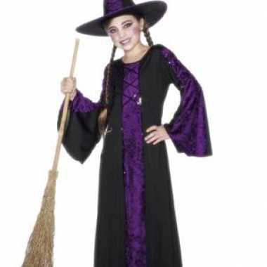 Halloween Heksen kinder carnavalskleding zwart/paars2020