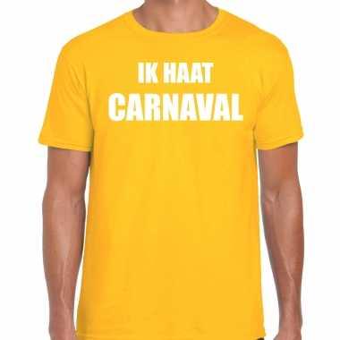 Ik haat carnaval verkleed t shirt / carnavalskleding geel heren2020