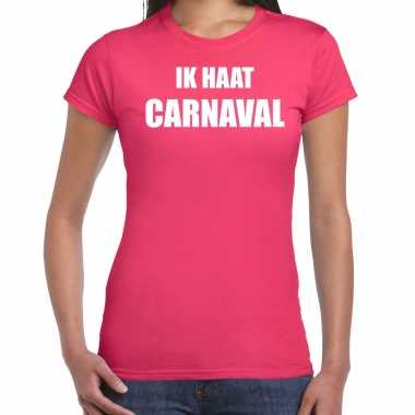 Ik haat carnaval verkleed t shirt / carnavalskleding roze dames2020