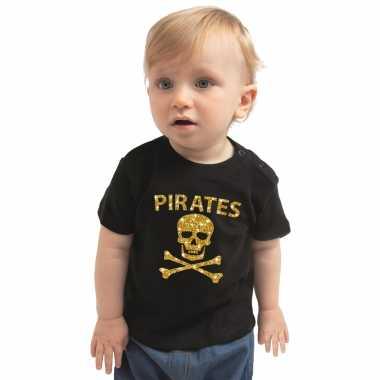 Piraten carnavalskleding shirt goud glitter zwart babys2020