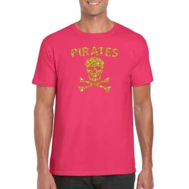 Piraten shirt / foute party verkleed carnavalskleding / carnavalskleding goud glitter roze heren2020