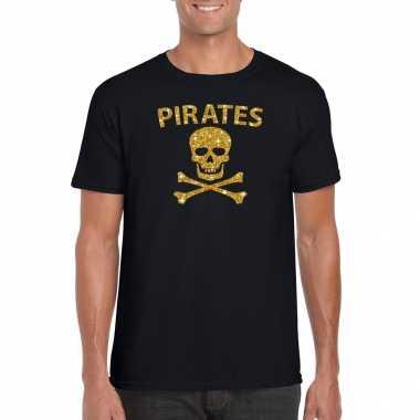 Piraten shirt / foute party verkleed carnavalskleding / carnavalskleding goud glitter zwart heren2020