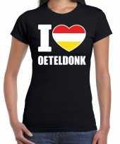 Carnaval i love oeteldonk t shirt zwart dames