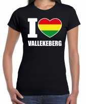 Carnaval i love vallekeberg t shirt zwart dames